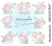 cute doodle elephant poses with ... | Shutterstock .eps vector #1842447847