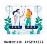 telemedicine mobile app flat... | Shutterstock .eps vector #1842466561