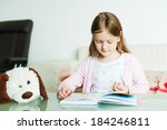 portrait of a cute little girl... | Shutterstock . vector #184246811