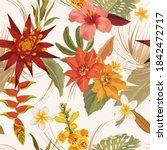 seamless tropic floral autumn... | Shutterstock .eps vector #1842472717