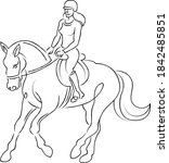 young girl woman rider riding a ... | Shutterstock .eps vector #1842485851