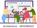 group of friends is sitting at...   Shutterstock .eps vector #1842486631