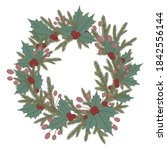 christmas wreath with evergreen ... | Shutterstock .eps vector #1842556144