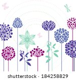flowers and butterflies | Shutterstock .eps vector #184258829