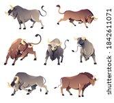 aggressive wild animals front ...   Shutterstock .eps vector #1842611071