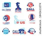 helpdesk or hotline 24 7 ...   Shutterstock .eps vector #1842611074