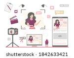 woman freelancer makes video... | Shutterstock .eps vector #1842633421