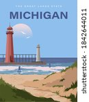 michigan. great lakes. people... | Shutterstock .eps vector #1842644011