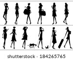 silhouettes of women | Shutterstock .eps vector #184265765