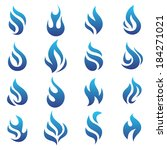 fire flames blue  set icons ... | Shutterstock .eps vector #184271021