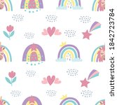 seamless pattern with cute...   Shutterstock .eps vector #1842723784