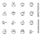 cooking instruction line icons...