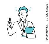 man or doctor men pointing up...   Shutterstock .eps vector #1842758521