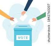 vote ballot box. hands putting... | Shutterstock . vector #1842763207