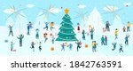new year and christmas on the... | Shutterstock .eps vector #1842763591