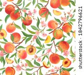 seamless peach pattern with... | Shutterstock .eps vector #1842796621