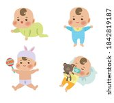 cute little baby in different... | Shutterstock .eps vector #1842819187