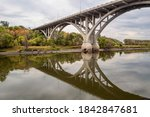 The Mendota Bridge Reflecting in the Low Waters of the Minnesota River during Early Autumn