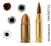 Bullets and bullet holes - stock vector