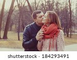 young happy couple hugging in... | Shutterstock . vector #184293491