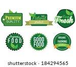farm fresh  organic food label  ... | Shutterstock .eps vector #184294565