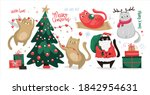 christmas set of elements with...   Shutterstock .eps vector #1842954631