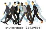 businessmen hurrying on city... | Shutterstock .eps vector #18429595