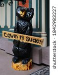 Small photo of JIM THORPE, PA -30 AUG 2020- View of a bear sculpture with the message Covid-19 Sucks on the street in Jim Thorpe, Pennsylvania, United States.