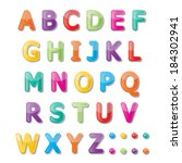 colorful paper font signs.... | Shutterstock .eps vector #184302941