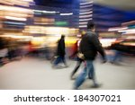 mall people blur at dusk | Shutterstock . vector #184307021