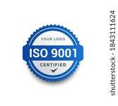 iso 9001 certified badge logo...   Shutterstock .eps vector #1843111624