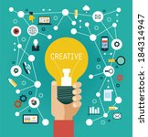 creative network concept. human ... | Shutterstock .eps vector #184314947
