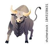 aggressive buffalo animal ... | Shutterstock .eps vector #1843158631