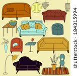 doodle furniture and home... | Shutterstock .eps vector #184315994