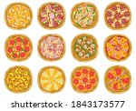 pizza icon set. top view.... | Shutterstock .eps vector #1843173577