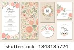universal hand drawn floral... | Shutterstock .eps vector #1843185724