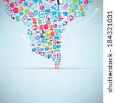 social network background with... | Shutterstock .eps vector #184321031