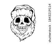 santa skull in christmas hat... | Shutterstock .eps vector #1843219114