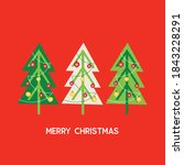 christmas trees with red and... | Shutterstock .eps vector #1843228291