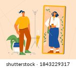 woman stands in front of mirror ... | Shutterstock .eps vector #1843229317