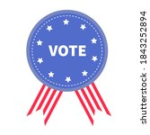 vote. blue badge with striped... | Shutterstock . vector #1843252894