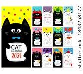 cat vertical monthly calendar... | Shutterstock .eps vector #1843258177