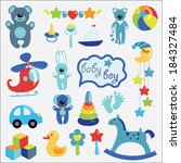 a set of cute items of toys for ... | Shutterstock .eps vector #184327484
