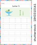 alphabet tracing worksheet.... | Shutterstock .eps vector #1843310161