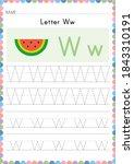 alphabet tracing worksheet.... | Shutterstock .eps vector #1843310191