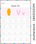 alphabet tracing worksheet.... | Shutterstock .eps vector #1843310194