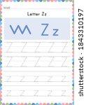 alphabet tracing worksheet.... | Shutterstock .eps vector #1843310197