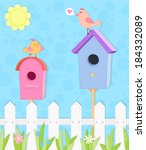 two colorful nesting boxes with ... | Shutterstock .eps vector #184332089