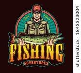 Colorful Fishing Vintage Badge...