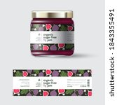 fig jam label and packaging.... | Shutterstock .eps vector #1843355491